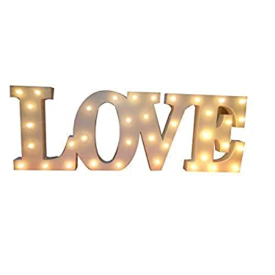 """Decorative Wooden LED Letters Light """"LOVE"""" (20"""" x 7"""" x 1.18"""") - Batteries Operated (not Included) LED Marquee Sign - Light up Letters and Illuminated Home Wedding Decorations"""