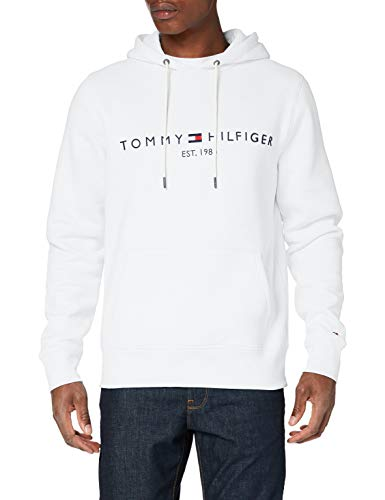 Tommy Hilfiger Herren Tommy Logo Hoody Pullover, White, L