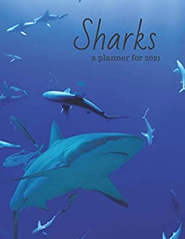 Sharks  a planner for 2021 with habit tracking pages Ocean scene.