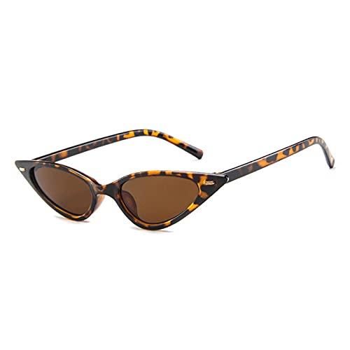 FENGHUAN Moda Vintage pequeño Ojo de Gato para Mujer Gafas de Sol Triangulares Remaches decoración Mujer Tendencia Gafas de Sol Sombras Leopardtea