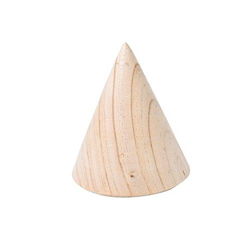 harayaa Caja de Almacenamiento de Madera con Soporte de Joyería de Pulsera de Madera Natural de Cono 3D