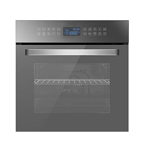 Empava 24' Electric Convection Single Wall Oven 10 Cooking Functions Deluxe 360° ROTISSERIE with Sensitive Touch Control in Silver Mirror Glass, C17, Black