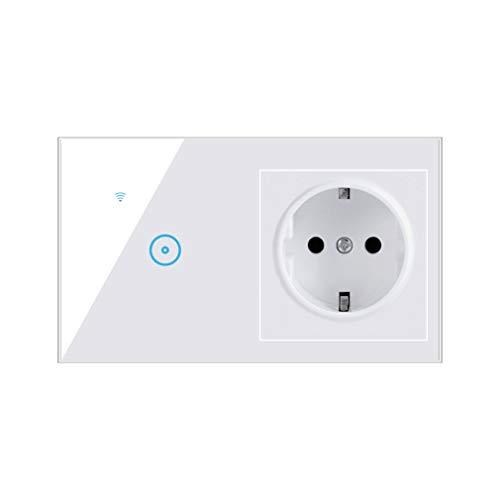 Alexa Lichtschalter,Touch Lichtschalter mit Steckdose - mit Glasrahmen Kompatibel mit Alexa/Google Assistant/Smartphone (1 Gang, White)