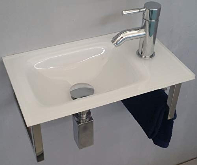 BAD SINK Spül washstand IN GLASS VON EXTRA Weiß CM 44 SUPPORT WITH STAINLESS STEEL