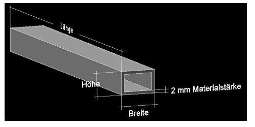 Alu Rechteckrohr 20 x 15 x 2 mm Aluminium AlMgSi0,5 Profilrohr Profil Aluprofil Rohr (50 cm (6 Stck.))