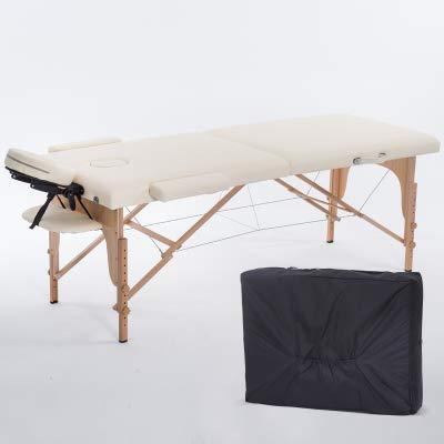 HEEGNPD inklapbaar schoonheidsbed, 180 cm lang en 60 cm breed. Professionele, draagbare spa-massagetafel, inklapbaar met een houten meubeltas voor de woonkamer