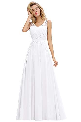 MisShow Abiballkleid Abendkleider a Linie Brautkleid Hochzeitskleid für Hochzeit Ballkleider Lang Weiss 46