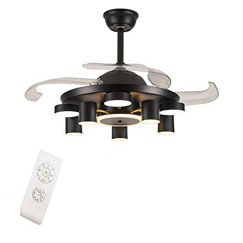 TFCFL Ventilador de techo retro de 100 cm con iluminación LED, ventilador telescópico, luz regulable, lámpara de techo, 3 velocidades, lámpara de araña silenciosa con mando a distancia