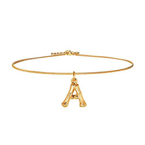 FOCALOOK kleine Buchstabe A Choker Halskette Gelbgold überzogend Damen Anhänger Bambus Stil Initiale Collier 40cm Ankerkette verstellbar Coole Schmuck für Mädchen