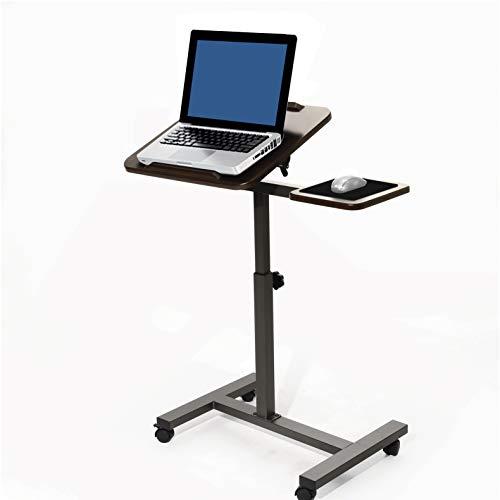Seville Classics Mobiler Stehpult mit Beistelltisch Laptoptisch, Metall, braun 66 x 40.6 x 101.6 cm