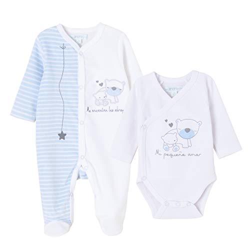 Amomí Conjunto de Bebé de Pijiama Terciopelo y Body Manga Larga Talla Unica (1 Mes, Blanco)