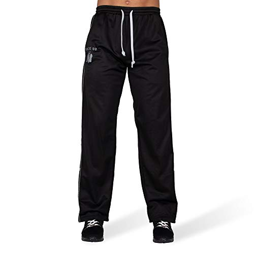 GORILLA WEAR - Lange Sport-Shorts Herren - Functional Mesh Pants - Bodybuilding Hose Black/White L/XL