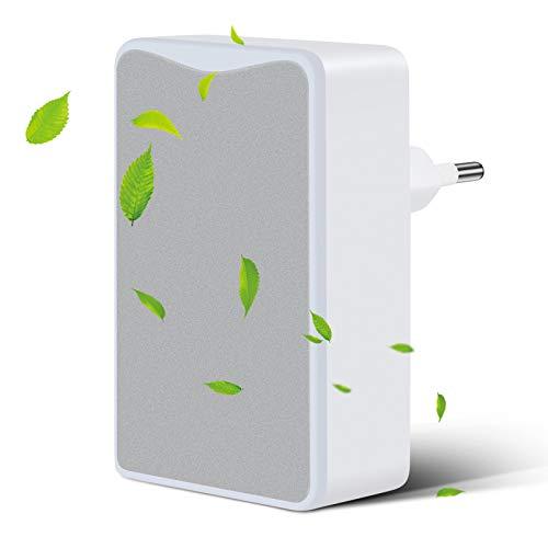 MOPOIN Plug-in-Luftreiniger, Mini Air Purifier Leiser Betrieb Luftwäscher für Haustierallergene, Raucherzimmer, Apartment Schlafzimmer Küche Toilette (Silber)