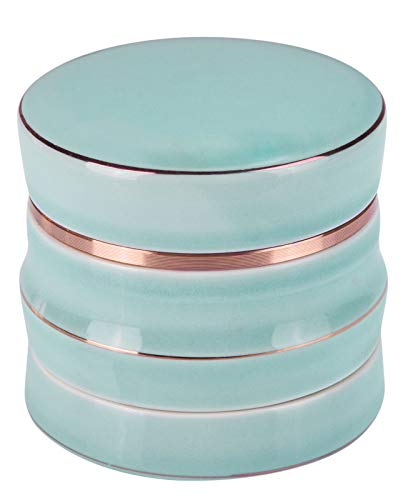 CigaMaTe Grinder Ceramic Herb Grinder Large 2.5 Inch 4 Piece Grinders Gift Box Packaging (Blue)