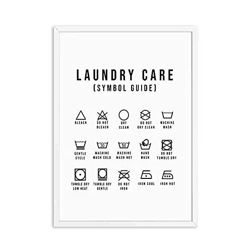 Guía de símbolos de lavandería Lavado Secadora Arte Pintura en Lienzo Impresiones y Carteles Sala de lavandería Cuadro de Pared Decoración 50x70 cm C-1534