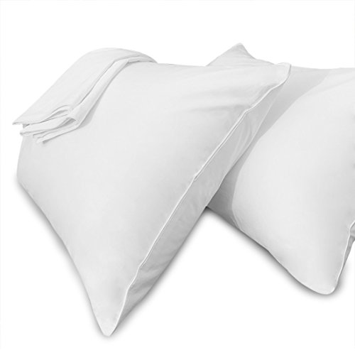 Precoco Pillow Cases Queen Size-100% Cotton Pillowcase Covers with Zipper Hidden, Breathable & Ultra Soft/Pillow Covers for Easy Care, 2 Pack/White