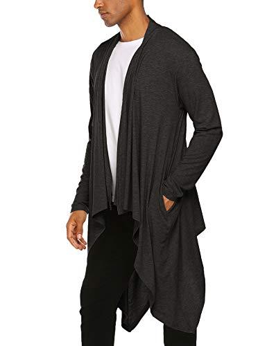 COOFANDY Men's Ruffle Shawl Collar Cardigan Sleeveless Open Front Vest Lightweight Cotton Long Length Drape Cape (Dark Gray(Long Sleeve), XX-Large)