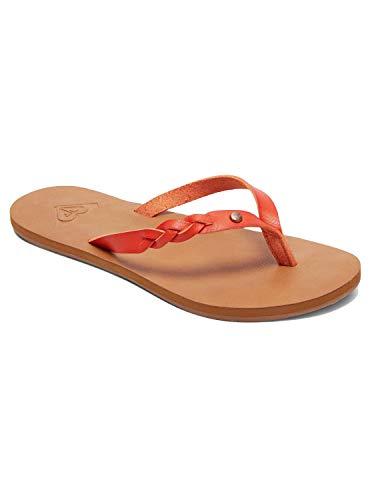 Roxy Women's Liza Sandal Flip Flop, Blazing Orange, 9 M US
