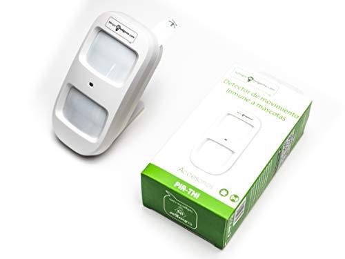 Sensor de Movimiento PIR Inalámbrico Inmune a Mascotas y a Inhibidores de frecuencia | Detector de Infrarrojos Area de detección: 8m/110° para Usar con Sistema de Alarma THI