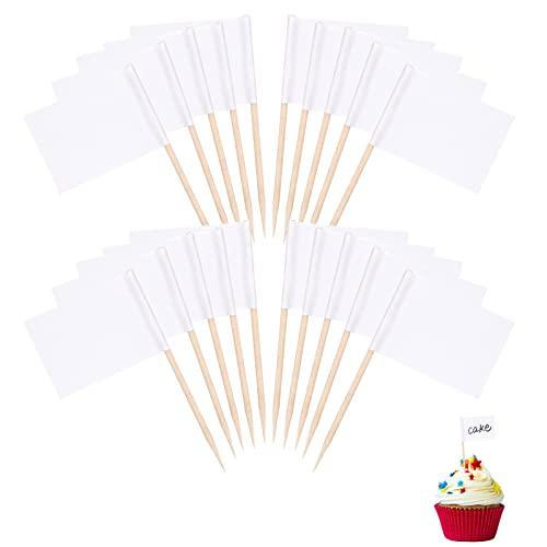 ALTcompluser Zahnstocher Flaggen Leere, 100 Stück Flaggenpicker Käse Marker Leere Kuchendekoration für Cupcake Topper Party Kuchen Cocktail Lebensmittel Käseplatte Dekoration(Weiß)