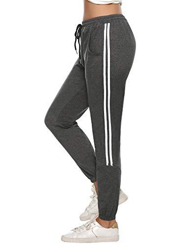 Aibrou Damen Strick Baumwolle Streifen Sporthose Sweathose mit Bündchen Traininghose Jogging Hose Slim Fit Dunkelgrau m