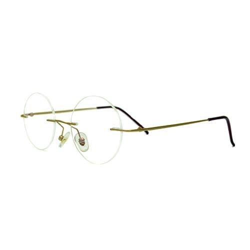 メガネ屋さんが選んだコスパ高メガネ 伊達メガネ Houx0006 ブルーライトカット 2ポイント クラシックスタイル PCメガネ 丸メガネ リムレス (小さめ, マットブルー)