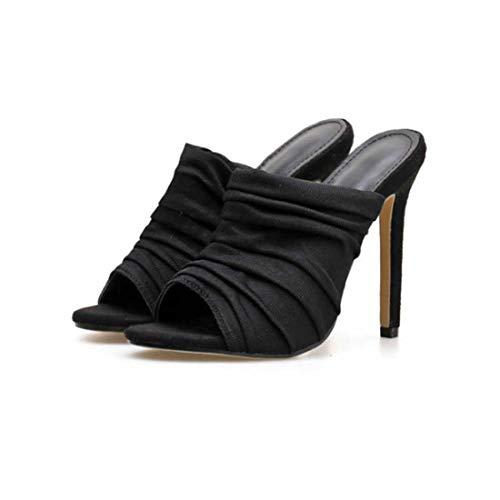 BZBZBZ 11.5cm Estilete Enfriar Deslizadores de los Zapatos Sandalias Peep Toe Mulas OL de Tenis de tamaño Vestido de los Zapatos 35-40 EU,Negro,EU40