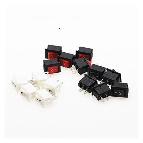 Interruptor basculante Interruptor 15pcs Mini Rocker y Negro Rojo Snap en interruptores de botón de CA 250V 3A / 125V 6A 2 pines de E / S 10 * 15 mm de encendido y apagado Rocker ( Color : Mixed )