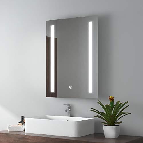 EMKE LED Badspiegel 50x70cm Badspiegel mit Beleuchtung kaltweiß Lichtspiegel Badezimmerspiegel Wandspiegel mit Touchschalter + beschlagfrei IP44 energiesparend