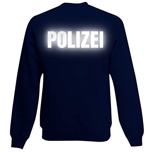 Shirt-Panda Herren Polizei Sweatshirt - Druck Brust & Rücken Reflex Dunkelblau (Druck Reflex) XXL