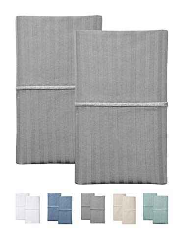 Feather & Stitch 500 Thread Count 100% Cotton Stripe Soft Sateen Weave King Size Pillow Cases (King Pillowcase Grey) Set of 2
