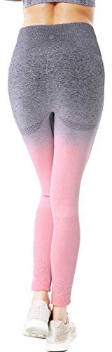 RUNNING GIRL Ombre Nahtlose Gym Leggings Power Stretch Hohe Taille Yoga Hosen Laufen Workout Leggings - Pink - Klein