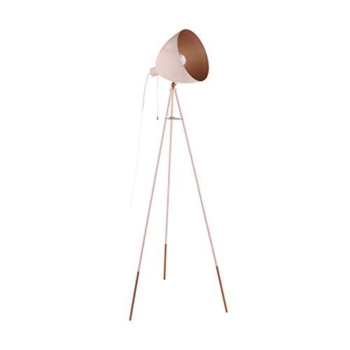 EGLO Chester-P Dreibein Stehlampe, 1 flammige Vintage Stehleuchte, Standleuchte aus Stahl, pastell apricot, kupfer, Fassung: E27, inkl. Zugschalter