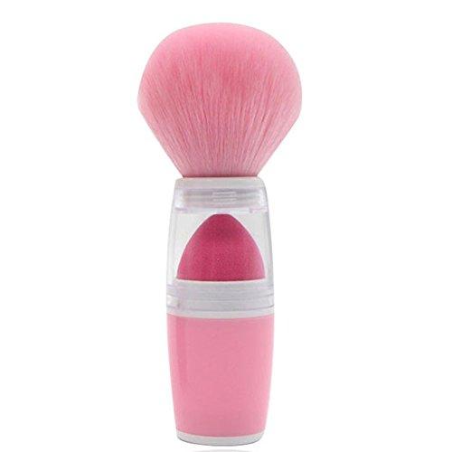 Gespout Pinceau de Maquillage Professionnel pour Visage Double Couche Nylon Poignée en Plastique Fond de Teint Poudre Blush (Rose)