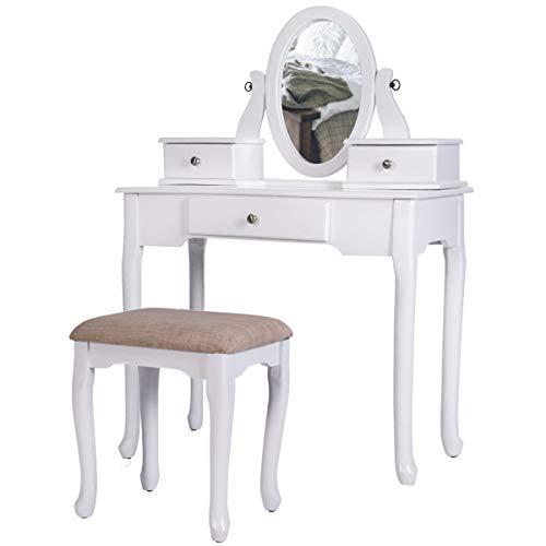 WFHhsxfh Vanity Set met Kruk Dressing Make-Up Tafel met 3 Laden en Spiegels Slaapkamer Meubels