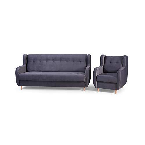mb-moebel Polstergarnitur Sofa und Sessel Couch mit Bettkasten und Schlaffunktion Polstersofa 3+1 Danny (Grau)
