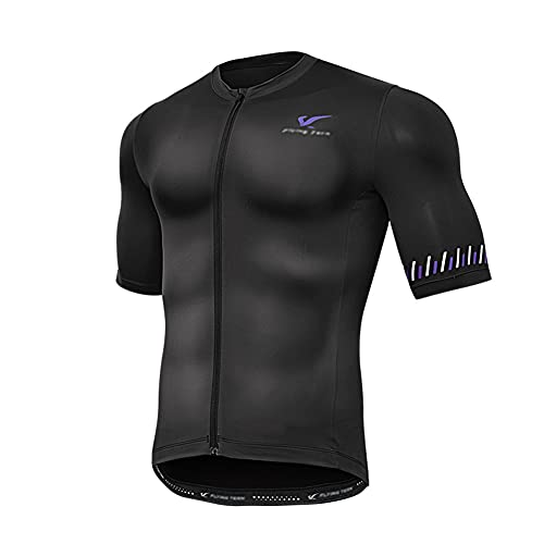 Men?s Cycling Jersey, Short Sleeve Biking Cycle Tops Mountain Bike Shirt Top Zipper Pockets Reflective Quick Dry Breathable Racing Bicycle Clothes (Black,S)