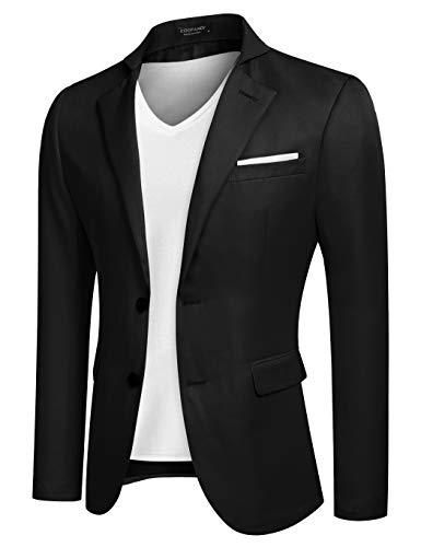 Coofandy Men's Casual Dress Suit Slim Fit Stylish Blazer Coats Jackets, Size X-Large, Black