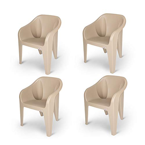 Supreme Futura Plastic Chairs for Home and Office (Set of 4, Beige)