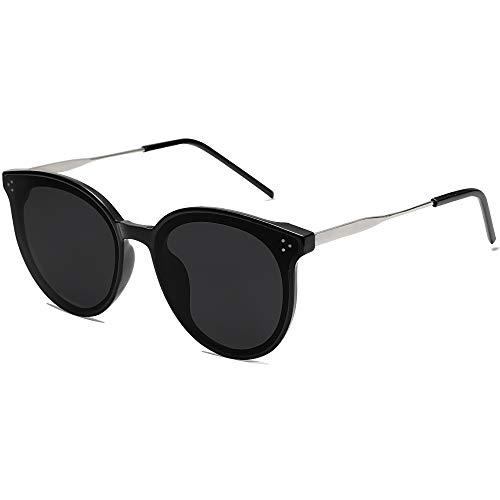 SOJOS Gafas de sol de mujer redondas vintage retro moda con remaches SJ2068 Dolphin (C1 negro marco/gris lente)