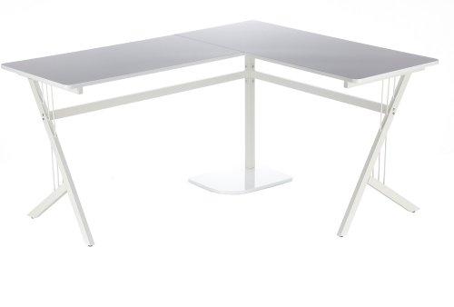 hjh OFFICE 673470 bureau multimédia, table d'ordinateur POLLUX laqué blanc avec grande surface de travail, surface de rangement et support pour unité centrale, piètement élégant, facile à monter