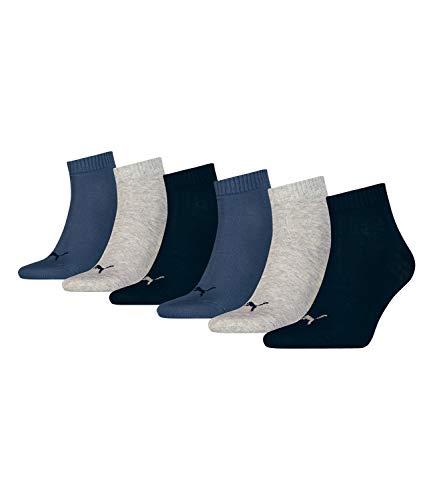 Puma 271080001-532 Quarter - Calcetines Deportivos Cortos Unisex (6 Pares, 3 Paquetes De 2 Unidades, Talla 43-46), Color Azul Marino, Gris Y Azul