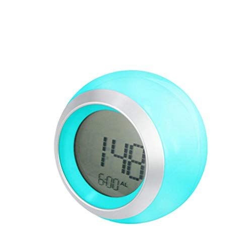 zxb-shop Desk clock Color Dimming Alarm Clock Snooze Mute Mini LED Clock Children's Bedroom Home Small Alarm Clock Electronic Clock Desk clock (Color : Blue)