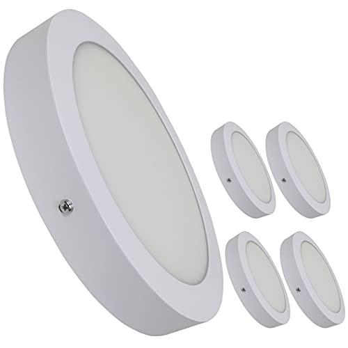 Pack 5x Plafón Downlight LED Circular 20W superficie. Color Blanco Frio (6500K). 1800 lumenes. Driver incluido.