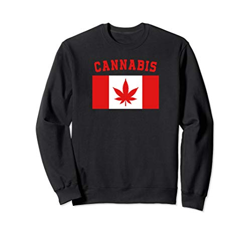 Cannabis Canada Marijuana Legalization Stoners Pot Leaf Flag Sweatshirt