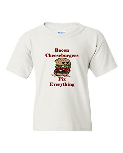 Bacon Cheeseburgers Fix Everything DT Novelty Youth Kids T-Shirt Tee (Extra Small, White)