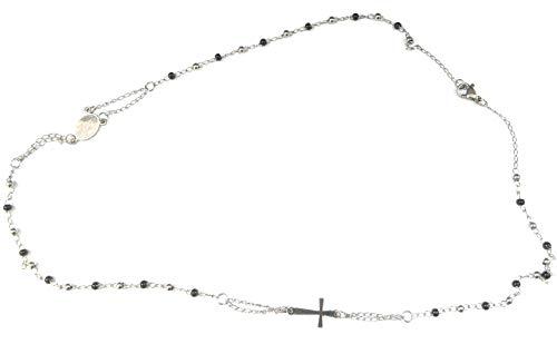 Moda Mavilla Collana girocollo rosario in acciaio perline nere 4MM misura 47 cm lavorata a mano Made in Italy