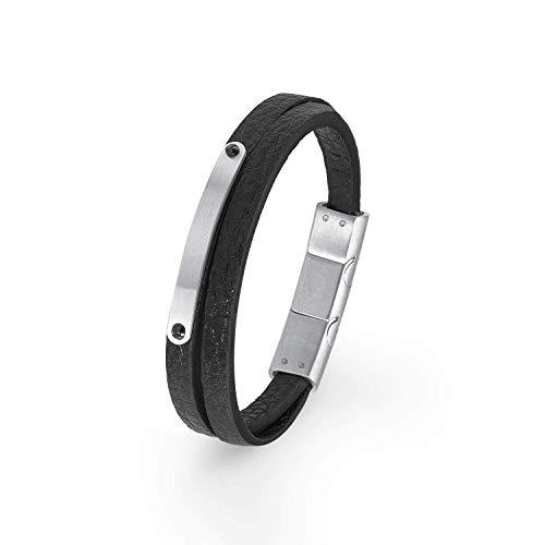 S.Oliver Kinder gravierbares Armband Jungen Ident-Armband Leder Edelstahl 16,5+1,5 cm schwarz