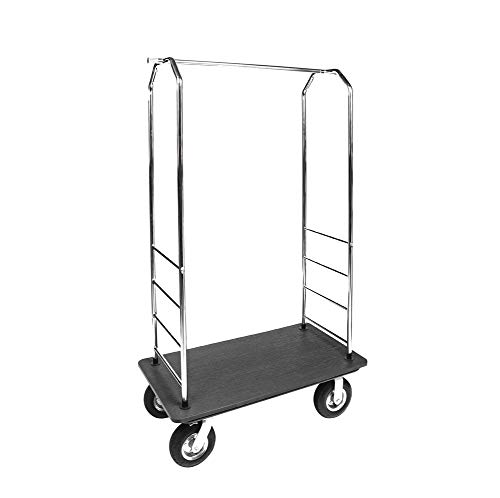 CSL Stainless Steel Valet Cart, Easy Mover Bellman Cart with 1-Inch Plywood Deck, Steel Undercarriage, and 8-Inch Gray Poly Casters, Hotel Luggage Cart Made in The USA,72.5 x 43 x 23 Inches