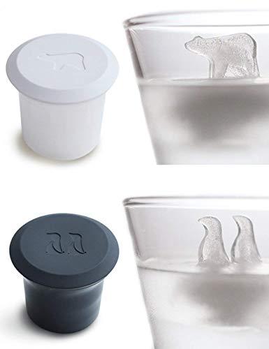 WJSW Eiswürfelformen in Eisbären-und Pinguinform Tiere Neuheit Design Eiswürfelformen zum Trinken von Silikon-Eiswürfelschalen mit 2er-Deckel